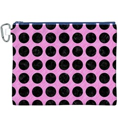 Circles1 Black Marble & Pink Colored Pencil Canvas Cosmetic Bag (xxxl) by trendistuff