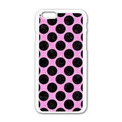Circles2 Black Marble & Pink Colored Pencil Apple Iphone 6/6s White Enamel Case by trendistuff