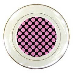 Circles2 Black Marble & Pink Colored Pencil (r) Porcelain Plates by trendistuff