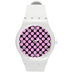 Circles2 Black Marble & Pink Colored Pencil (r) Round Plastic Sport Watch (m) by trendistuff