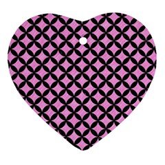 Circles3 Black Marble & Pink Colored Pencil Heart Ornament (two Sides) by trendistuff