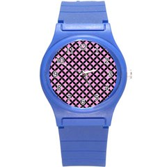Circles3 Black Marble & Pink Colored Pencil Round Plastic Sport Watch (s) by trendistuff