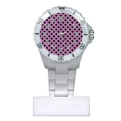Circles3 Black Marble & Pink Colored Pencil (r) Plastic Nurses Watch by trendistuff