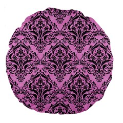 Damask1 Black Marble & Pink Colored Pencil Large 18  Premium Round Cushions by trendistuff