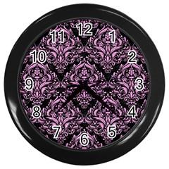 Damask1 Black Marble & Pink Colored Pencil (r) Wall Clocks (black) by trendistuff