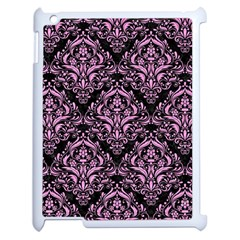 Damask1 Black Marble & Pink Colored Pencil (r) Apple Ipad 2 Case (white) by trendistuff