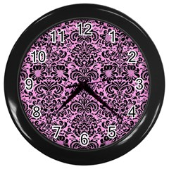 Damask2 Black Marble & Pink Colored Pencil Wall Clocks (black) by trendistuff