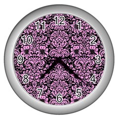 Damask2 Black Marble & Pink Colored Pencil (r) Wall Clocks (silver)  by trendistuff