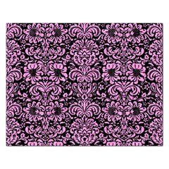 Damask2 Black Marble & Pink Colored Pencil (r) Rectangular Jigsaw Puzzl by trendistuff