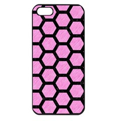 Hexagon2 Black Marble & Pink Colored Pencil Apple Iphone 5 Seamless Case (black) by trendistuff