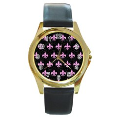 Royal1 Black Marble & Pink Colored Pencil Round Gold Metal Watch by trendistuff
