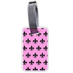 Royal1 Black Marble & Pink Colored Pencil (r) Luggage Tags (one Side)  by trendistuff