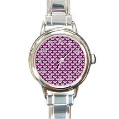 Scales3 Black Marble & Pink Colored Pencil Round Italian Charm Watch by trendistuff