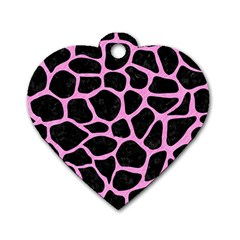 Skin1 Black Marble & Pink Colored Pencil Dog Tag Heart (one Side) by trendistuff