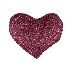 New Sparkling Glitter Print C Standard 16  Premium Flano Heart Shape Cushions by MoreColorsinLife