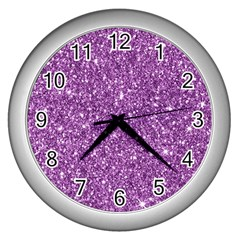 New Sparkling Glitter Print D Wall Clocks (silver)  by MoreColorsinLife