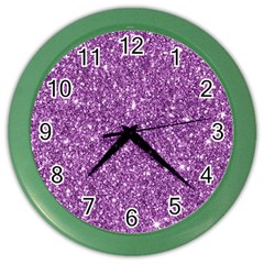 New Sparkling Glitter Print D Color Wall Clocks by MoreColorsinLife