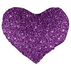 New Sparkling Glitter Print D Large 19  Premium Flano Heart Shape Cushions by MoreColorsinLife