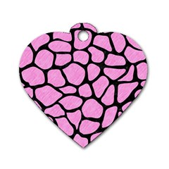 Skin1 Black Marble & Pink Colored Pencil (r) Dog Tag Heart (one Side) by trendistuff