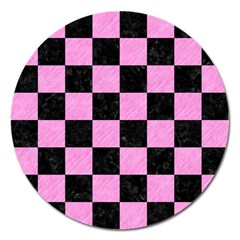 Square1 Black Marble & Pink Colored Pencil Magnet 5  (round) by trendistuff