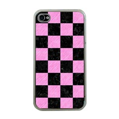 Square1 Black Marble & Pink Colored Pencil Apple Iphone 4 Case (clear) by trendistuff