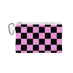Square1 Black Marble & Pink Colored Pencil Canvas Cosmetic Bag (s) by trendistuff