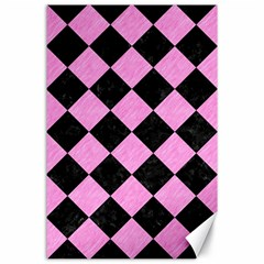 Square2 Black Marble & Pink Colored Pencil Canvas 24  X 36  by trendistuff