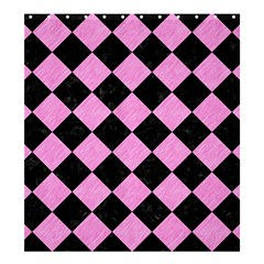 Square2 Black Marble & Pink Colored Pencil Shower Curtain 66  X 72  (large)  by trendistuff