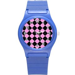 Square2 Black Marble & Pink Colored Pencil Round Plastic Sport Watch (s) by trendistuff
