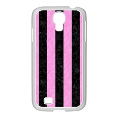 Stripes1 Black Marble & Pink Colored Pencil Samsung Galaxy S4 I9500/ I9505 Case (white) by trendistuff