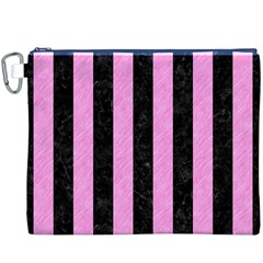 Stripes1 Black Marble & Pink Colored Pencil Canvas Cosmetic Bag (xxxl) by trendistuff