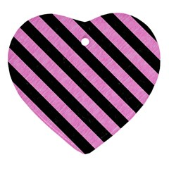 Stripes3 Black Marble & Pink Colored Pencil Ornament (heart) by trendistuff