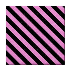 Stripes3 Black Marble & Pink Colored Pencil Face Towel by trendistuff