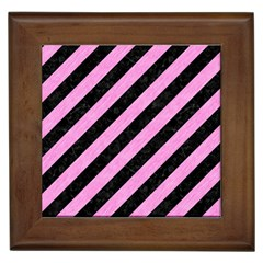 Stripes3 Black Marble & Pink Colored Pencil (r) Framed Tiles by trendistuff