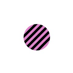 Stripes3 Black Marble & Pink Colored Pencil (r) 1  Mini Buttons by trendistuff
