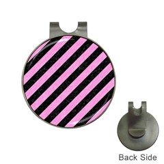 Stripes3 Black Marble & Pink Colored Pencil (r) Hat Clips With Golf Markers by trendistuff