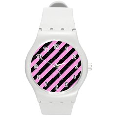 Stripes3 Black Marble & Pink Colored Pencil (r) Round Plastic Sport Watch (m) by trendistuff