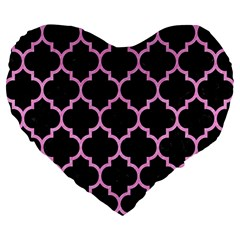 Tile1 Black Marble & Pink Colored Pencil (r) Large 19  Premium Flano Heart Shape Cushions by trendistuff