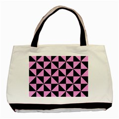 Triangle1 Black Marble & Pink Colored Pencil Basic Tote Bag (two Sides) by trendistuff