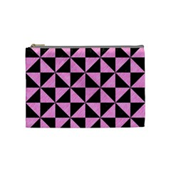 Triangle1 Black Marble & Pink Colored Pencil Cosmetic Bag (medium)  by trendistuff