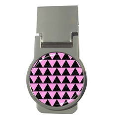 Triangle2 Black Marble & Pink Colored Pencil Money Clips (round)  by trendistuff