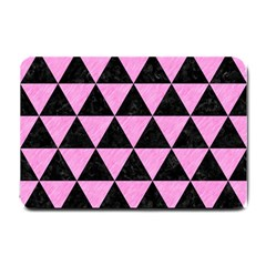 Triangle3 Black Marble & Pink Colored Pencil Small Doormat  by trendistuff