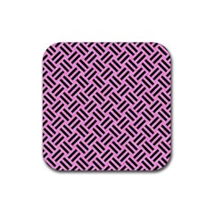 Woven2 Black Marble & Pink Colored Pencil Rubber Coaster (square)  by trendistuff