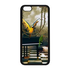 Funny Parrots In A Fantasy World Apple Iphone 5c Seamless Case (black) by FantasyWorld7