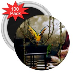 Funny Parrots In A Fantasy World 3  Magnets (100 Pack) by FantasyWorld7