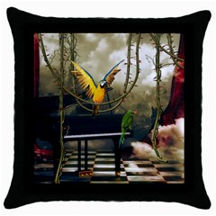 Funny Parrots In A Fantasy World Throw Pillow Case (black) by FantasyWorld7