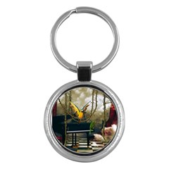 Funny Parrots In A Fantasy World Key Chains (round)  by FantasyWorld7