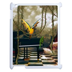 Funny Parrots In A Fantasy World Apple Ipad 2 Case (white) by FantasyWorld7