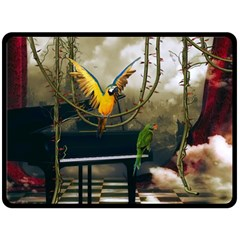 Funny Parrots In A Fantasy World Double Sided Fleece Blanket (large)  by FantasyWorld7
