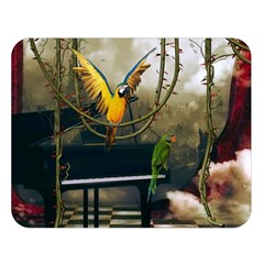 Funny Parrots In A Fantasy World Double Sided Flano Blanket (large)  by FantasyWorld7